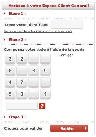 Ecran d'identification pour accéder à son espace client Generali Assurances