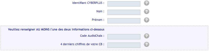 Banque Chaix en ligne : mon compte Cyberplus - Mot de passe perdu