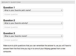Créer un compte Minecraft : questions de sécurité