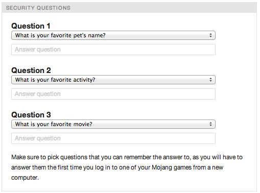 Comment créer un compte Minecraft gratuitement : questions de sécurité