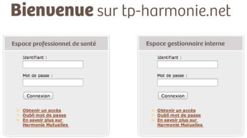 Accès à l'espace professionnel de santé - TP Harmonie Mutuelle : Tiers payant et remboursements