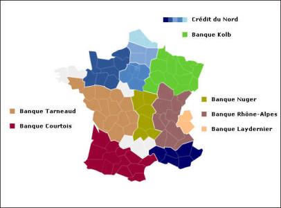 Groupe Crédit du Nord : les banques du groupe (Courtois, Kolb, Laydernier, Nuger, Rhône-Alpes, Tarneaud, SMC et Crédit du Nord)