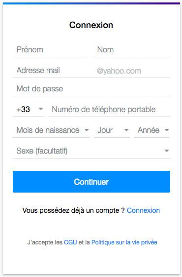 Création de compte Yahoo Mail France sur mail.yahoo.fr