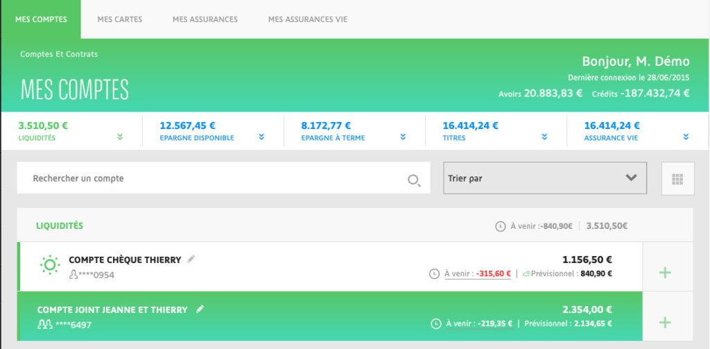 Interface mes comptes BNP Paribas banque en ligne - www.bnpparibas.net