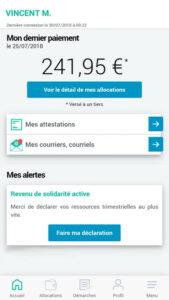 Accueil de l'application mobile CAF Mon compte