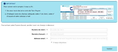 Activer mon espace assuré Mercernet : mon compte en ligne