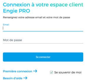Connexion à l'espace client pro Engie