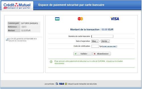 Cybermut : espace de paiement sécurisé par carte bancaire
