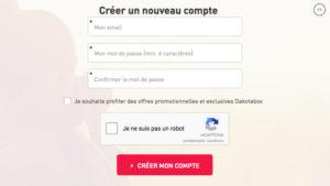 Dakotabox : créer son compte client sur www.dakotabox.fr