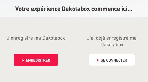 Dakotabox : enregistrer son coffret cadeau dakotabox.fr