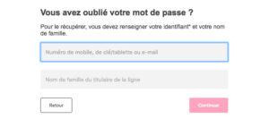 Espace client Bouygues Telecom : mot de passe perdu