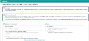 Espace virement Filbanque : opérations bancaires en ligne