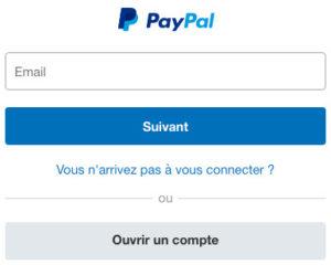 Fenêtre de connexion Paypal : login