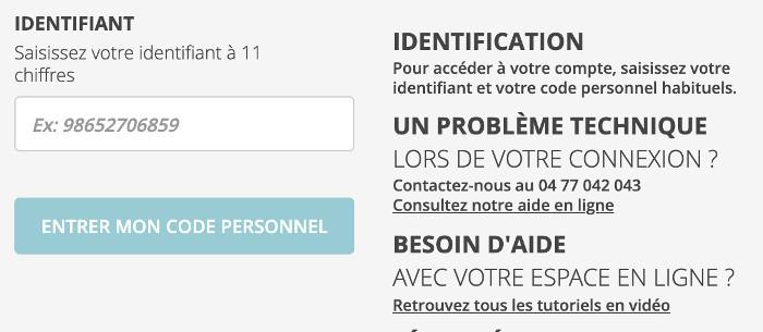 Identification à l'espace personnel www.ca-loirehauteloire.fr