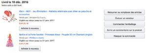 Liste des commandes en cours Amazon