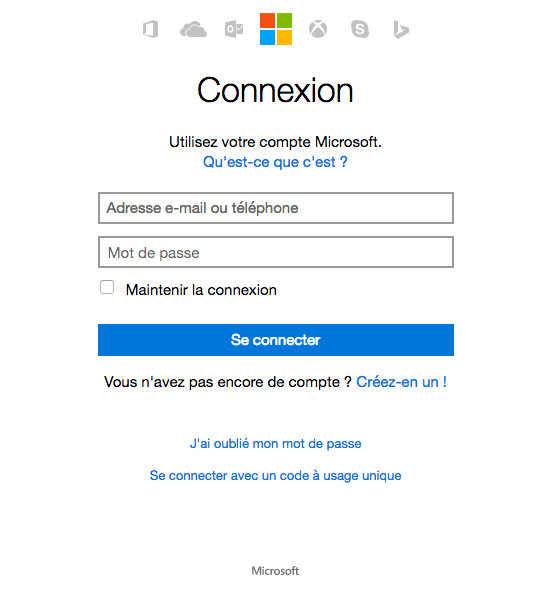 Mot de passe oublié Hotmail MSN Outlook