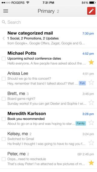 Messagerie Gmail sur smartphone