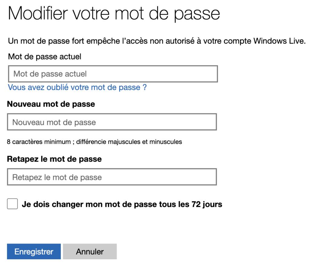 Modifier le mot de passe Microsoft