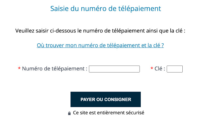 Paiement d'amende sur www.antai.gouv.fr