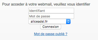 Se connecter au webmail Alice ADSL