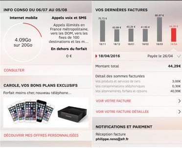 SFR Mon Compte : info conso et dernières factures