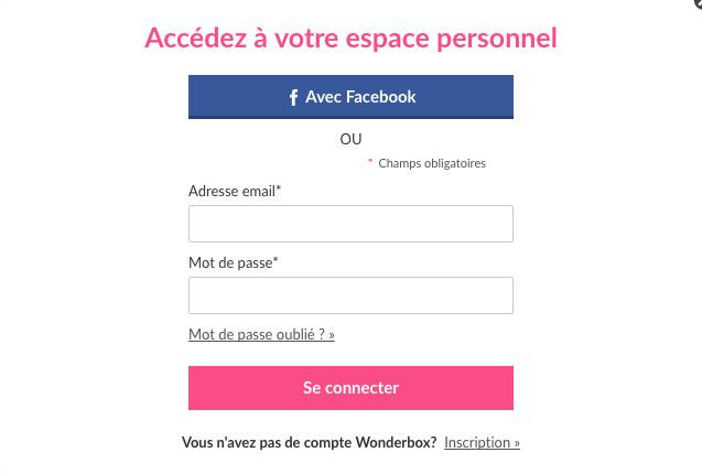 Wonderbox : mon espace personnel sur www.wonderbox.fr